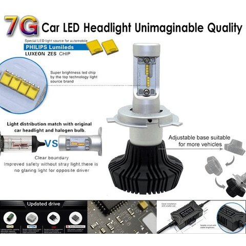 Car LED Headlamp Kit UP-7HL-H7W-4000Lm (H7, 4000 lm, cold white) Preview 2